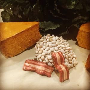 Historic faux food; Historic fake food; cornbread; beans; pork