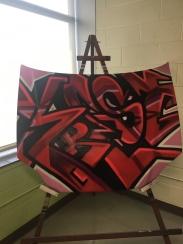 "Troy Duff, ""Krest,"" spray paint on car hood"
