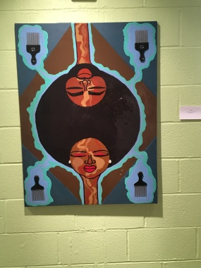 "Jody Harris, ""Afro man and Afro woman,"" paint on canvas"
